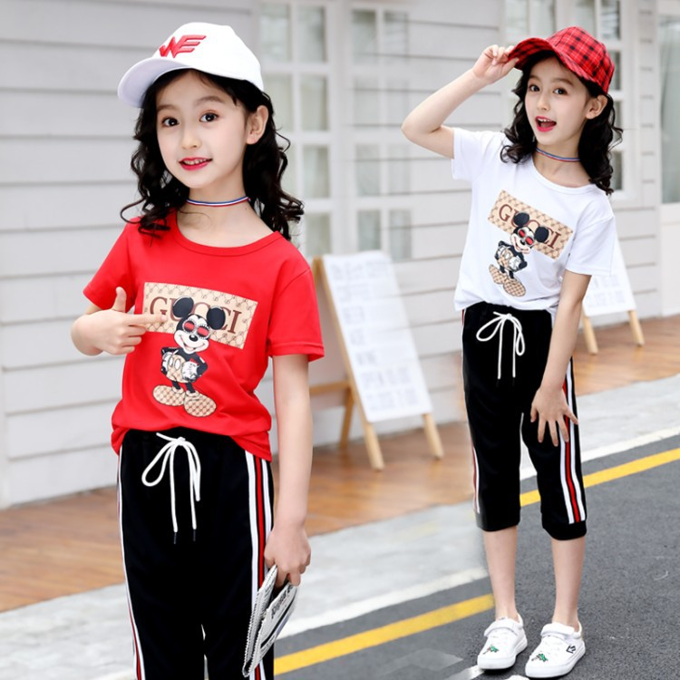 Girls' Summer Clothing 2018 New Style CHILDREN'S Garment Sports Two Piece Set Western Style Big Kid 12 Year Old GIRL'S Short Sle on AliExpress