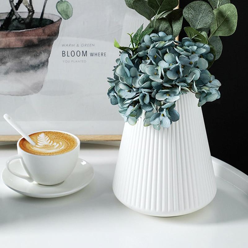 Nordic creative vase home decor flower vases for homes wet and dry planter desk decoration imitation ceramic plastic crafts|Vases| |  - title=