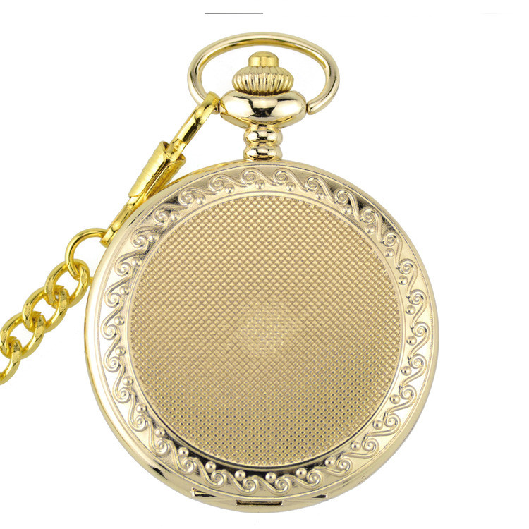 Antique Retro Gold Vintage Quartz Pocket Watch Steampunk Pocket & Fob Watches with Fob Watch with Chain Gift for men