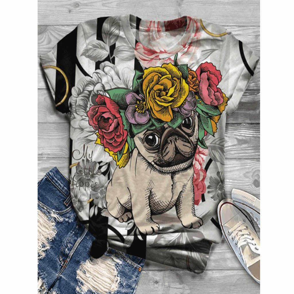 """Áo Thun Nữ Nữ Plus Size Nữ Tay Ngắn 3D In Hình Động Vật Cổ Tròn Áo Thun Haut Femme Camiseta Mujer """"Top Nữ Harajuku T áo Sơ Mi Poleras"""