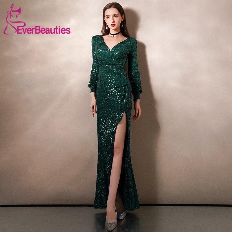 Mermaid Evening Dresses Long Sleeves Prom Gowns Side Split  V-Neck Robe De Soiree Abendkleider 2020 Sequins вечерние платья