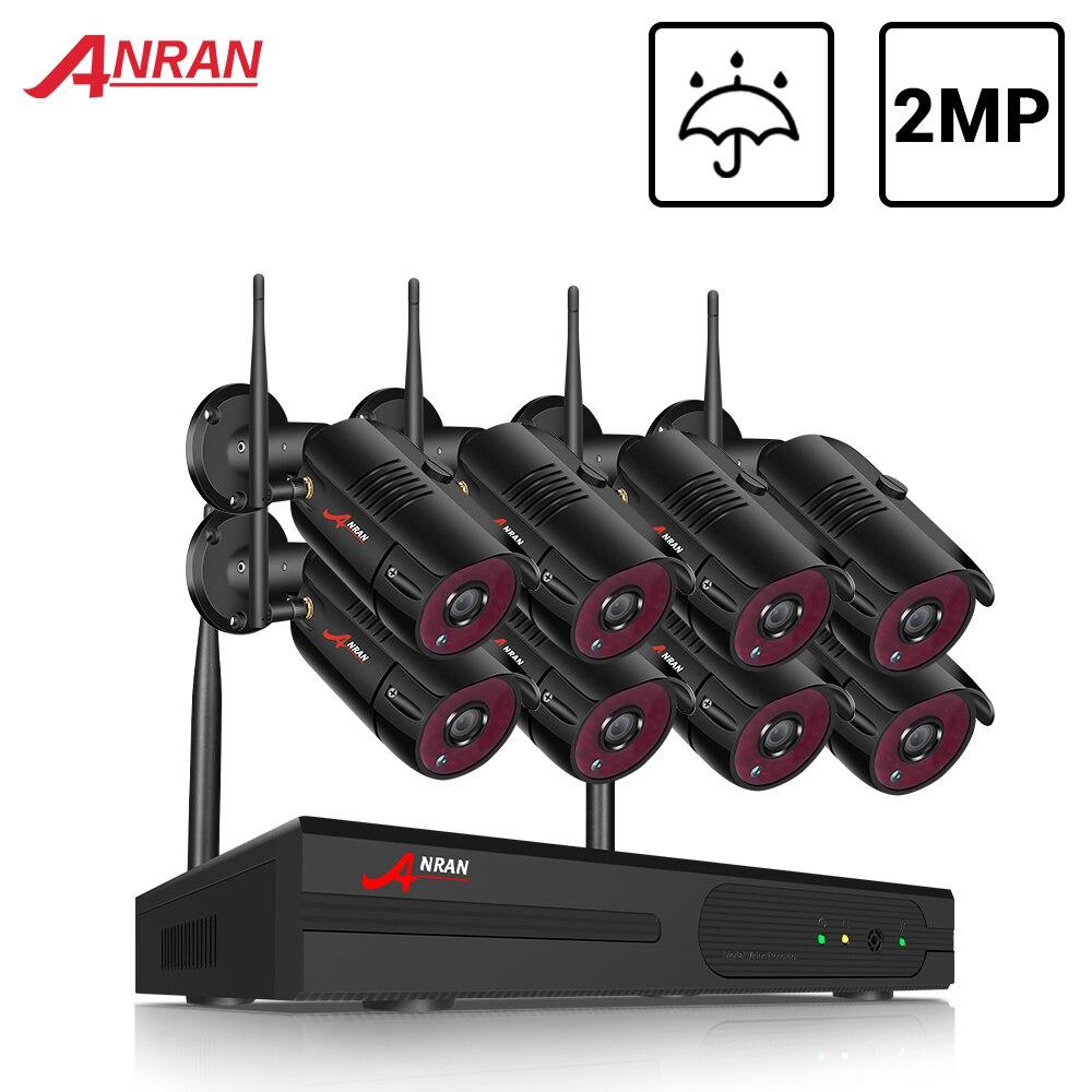 ANRAN 8CH HD 3MP WLAN Überwachungskamera Set WiFi NVR Audio Außen IP Kameras 1TB