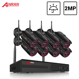Image 1 - Anrun نظام الدائرة التلفزيونية المغلقة اللاسلكية 1080P NVR مع 2.0MP في الهواء الطلق مقاوم للماء كاميرا أمان لاسلكية نظام طقم مراقبة للرؤية الليلية