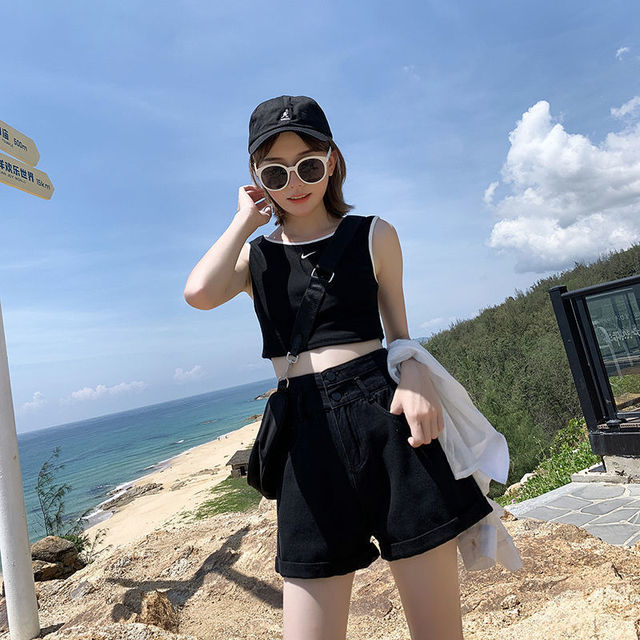 High Waisted Blue Wide Leg Women's Denim Shorts Classic Vintage Casual Female 2021 Summer Ladies Short Jeans for Women Y764 2