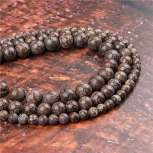 Fashion Grey Snowflake Round Beads Loose Jewelry Stone 4/6/8/10 / 12mm Suitable For Making Jewelry DIY Bracelet Necklace