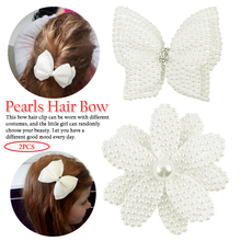 2 Pcs/lot 3.5 White Rhinestone Bow For Girl Kids Cute Pearls Hair With Alligator Clips Beads Hairgrip Accessories