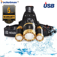 6000 Lumen 3leds Headlamp Fishing Headlight T6 4Modes Portable Zoomable Waterproof  headtorch Camping Hiking With USB Cable portable zooming xml t6 led headlamp waterproof zoom fishing headlights camping hiking flashlight with usb cable