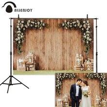 Allenjoy photophone wood flowers wall wedding photozone decoration indoor photographic backgrounds backdrop photo studio