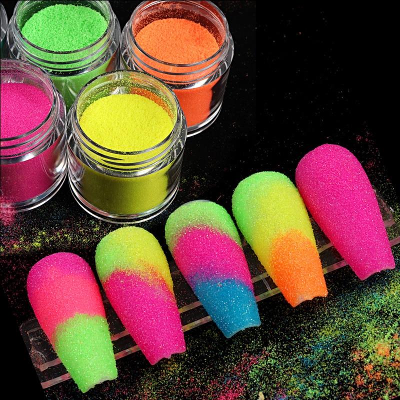 Fluorescent Nail Art Sugar Powder Dazzling Nail Art Pigment Glitter Colorful Rainbow Dust For DIY Manicure Decoration Design