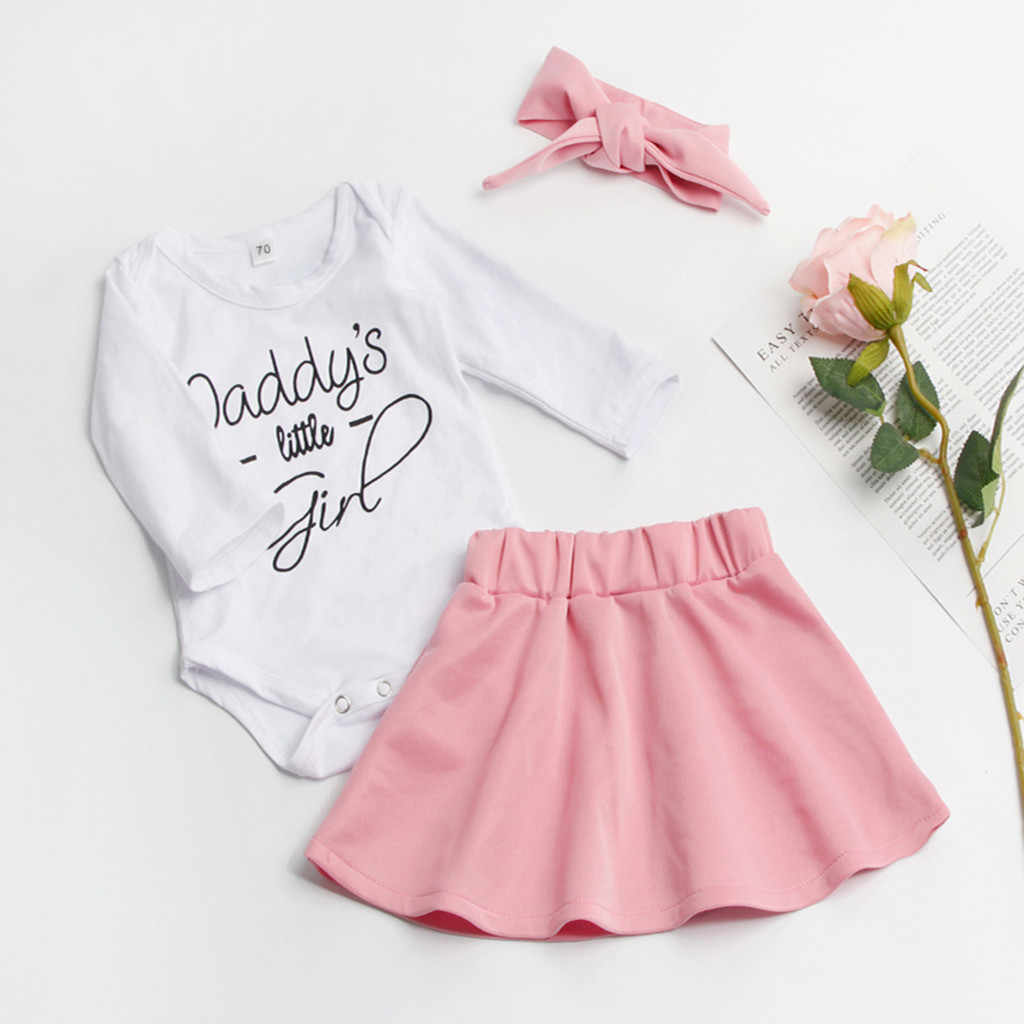 Conjunto de ropa para niñas pequeñas letras de manga larga mono falda sólida conjunto de Diadema de algodón recién nacido invierno Niñas Ropa