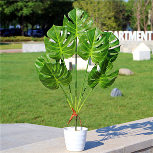 Image 3 - 80cm 7fork Large Artificial Tropical Tree Fake Plastic Plant Branch Big Green Palm Tree Monstera Foliage for Autumn Home Decor