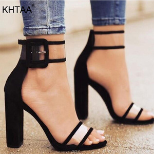 Image 1 - KHTAA Women Summer High Heel Sandals Transparent Ankle Strap Pumps Cover Heel Fashion Dancing Shoes Sexy Party Wedding Shoes