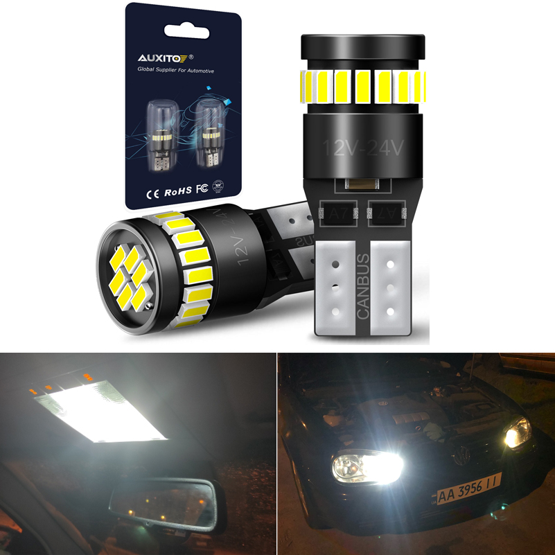 2Pcs W5W LED T10 Led-lampe 168 194 Canbus Kein Fehler 24SMD 3014 Auto Signal Lichter Freiheit Lizenz Platte lampe 6500K Weiß 12V