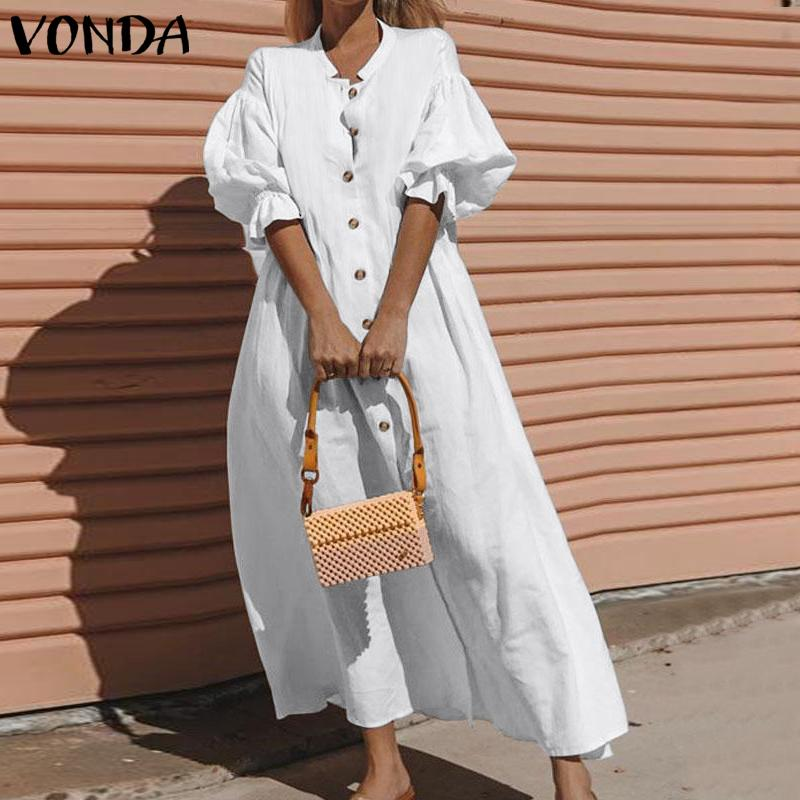 VONDA Women Summer Dress Half Lantern Sleeve Party Maxi Long Dress Casual Loose Office Sundress Plus Size Vestidos Robe Femme