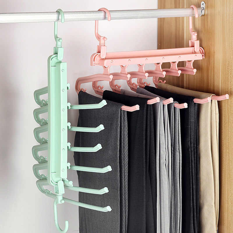 ZWZT 2 paquetes de pantalones colgantes S-tipo de acero inoxidable Pantalones Rack 5 capas de armario multiuso percha Space Saver Almacenamiento Rack para la ropa