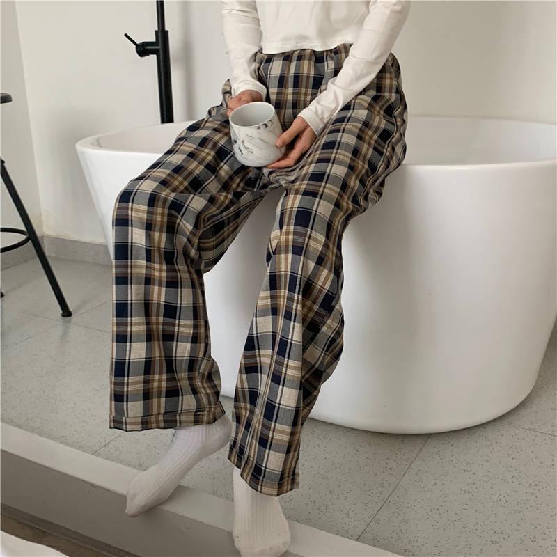 Женская пижама в клетку, пижамные штаны, домашняя одежда, женские штаны, осенняя домашняя одежда Штаны для сна      АлиЭкспресс