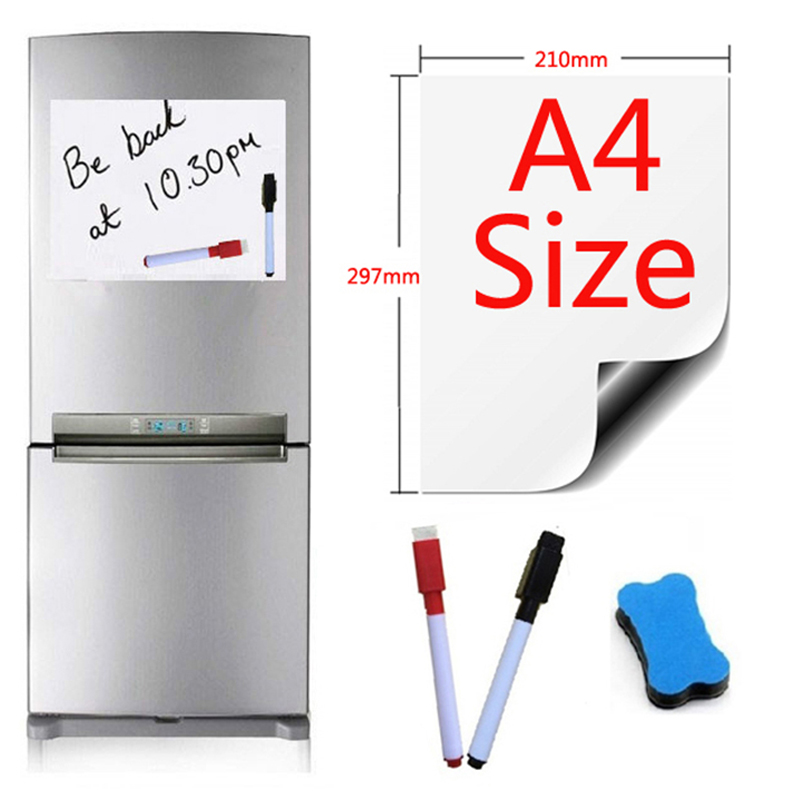 A4 Size Magnetic Whiteboard For Fridge Sticker Magnets Marker Eraser Writing Notes Message Boards White Board Pad Vinyl Flexible