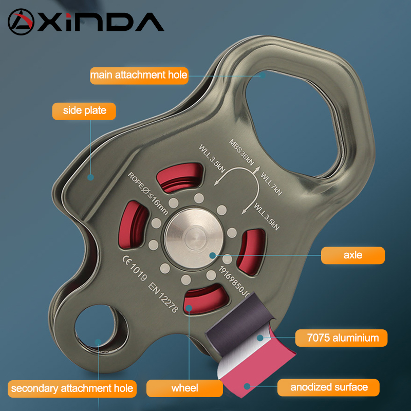 XINDA Professional Single Pulley Gear in ball bearing Mountaineering Rock Climbing Zipline Traverse-solving Carriage pulley