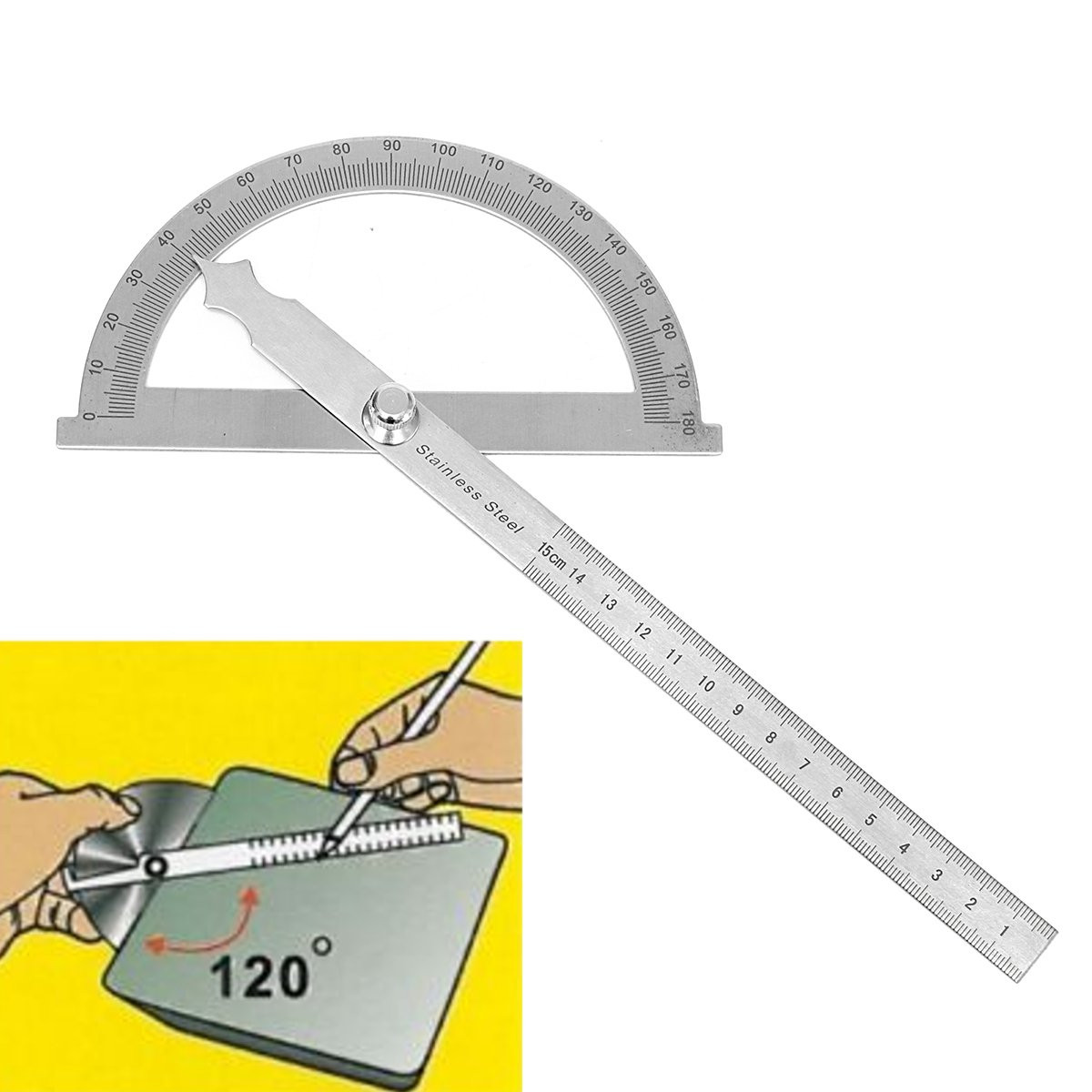 180 Degree Detachable Angle Protractor Ruler Stainless Steel Round Head Rotary Protractor Angle Finder Arm Measuring Ruler Tool