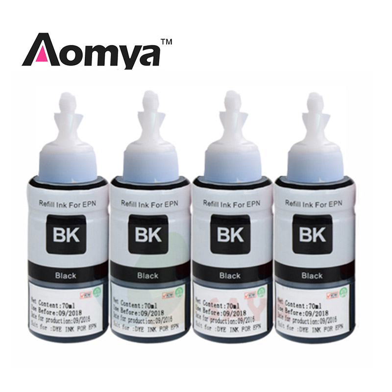 Купить с кэшбэком Aomya Black 4x70ml Dye Ink Compatible for Epson L355 L350 L365 L366 L550 L555 L566 L800 L801 L805 L110 L120 L210 Printer Ink