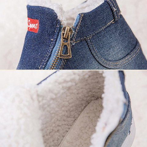 Denim winter shoes woman 2019 new women sneakers side zipper plush platform warm winter canvas shoes tenis feminino plus size Islamabad