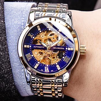 MGORKINA zegarki męskie 2020 luksusowe szkielet automatyczne mechaniczne zegarki znane oryginalne markowe męskie zegarki Relogio Masculino tanie i dobre opinie MG.ORKINA MG 3Bar Przycisk ukryte zapięcie Moda casual Automatyczne self-wiatr 23cm STAINLESS STEEL Odporne na wodę
