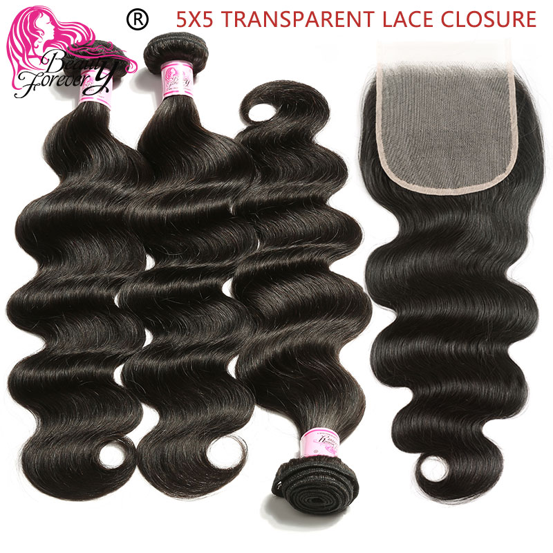 Beauty Forever Body Wave Transparent Lace Closure Brazilian Hair Weave 3 Bundles With Closure Free Part 100% Remy Human Hair