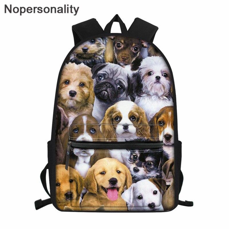 Nopersonality большой емкости рюкзак для женщин милый маленький щенок Собака Печать Подростковая школьная сумка для мальчиков девочек уникальна