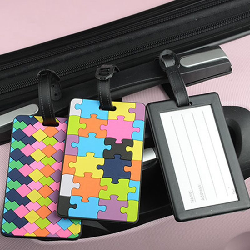Travel Accessories Silica Gel Luggage Tags Creative Square Puzzle Suitcase ID Address Holder Baggage Boarding Tag Portable Label