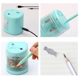 Image 5 - براية أقلام كهربائية مبتكرة التلقائي الذكية ثقب مزدوج مدرسة مكتب القرطاسية القرطاسية طالب هدية