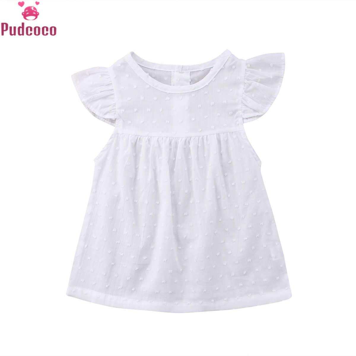 Noworodka ubrania dla dzieci dziewczyna biały Tulle księżniczka sukienka maluch krótkie rękawy Party urodziny wakacje Tutu sukienki