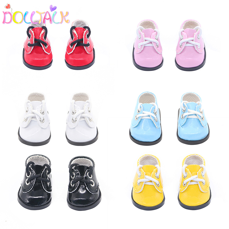 14'' Fashion Cute 5.5 cm Pu Leather Mini Bebe Reborn Doll Shoes Dress 6 Color For 1/4 EXO Russian DIY Handmade Toys  Doll Shoes