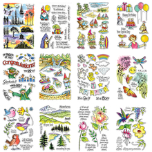 Happy Items Animals Words Characters Plants Lovely Transparent Clear Stamps For DIY Scrapbooking Paper Cards Crafts New 2020 merry christmas words flower stripe hot sell hot foil plates for scrapbooking diy paper cards crafts decoration new 2019