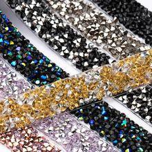 QIAO 1yard/roll 1.5cm Fashion Rhinestone Tape Trim Resin Crystal Decoration Trimming For DIY Shoes Banding Garment Hat Shiny
