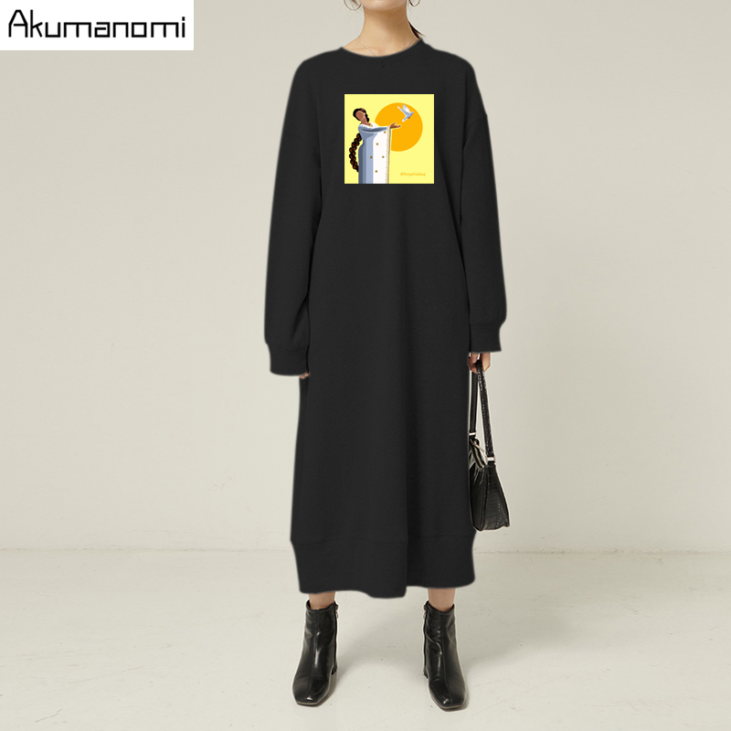 Black Long Spring Autumn Dresses For <font><b>Women</b></font> <font><b>Plus</b></font> <font><b>Size</b></font> <font><b>7xl</b></font> 6xl 5xl 4xl 3xxl Casual Long Sleeve Maxi Harajuku Loose Fall Dress 2020 image