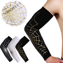 Spider web Color Print Arm Sleeves Reathable Cuffs Compression Outdoor Sports Basketball Sleeves Armguards Cycling Arm Warmers(China)