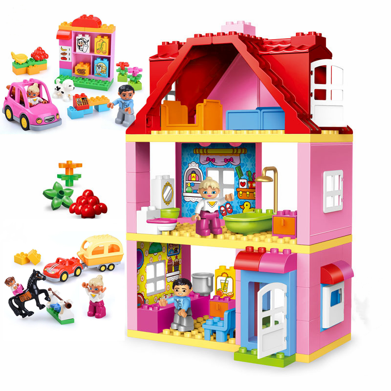 Friends Brick Set Pink City Girl Princess Family House Kids Toys Building Blocks Compatible With Duplo Bricks Gift