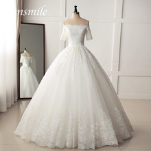 Fansmile Luxury Embroidery Vestido De Noiva Ball Gown Wedding Dress 2020 Princess Bridal Gowns FSM-127F