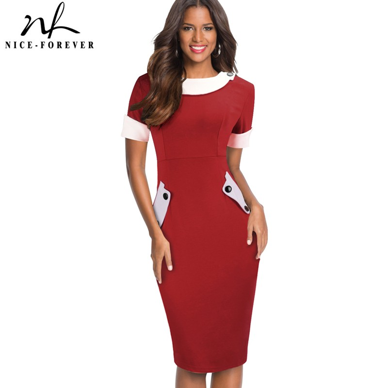 Nice-Forever Vintage Color Block  With Button Work Dresses Office Business Bodycon Sheath Women Dress G832