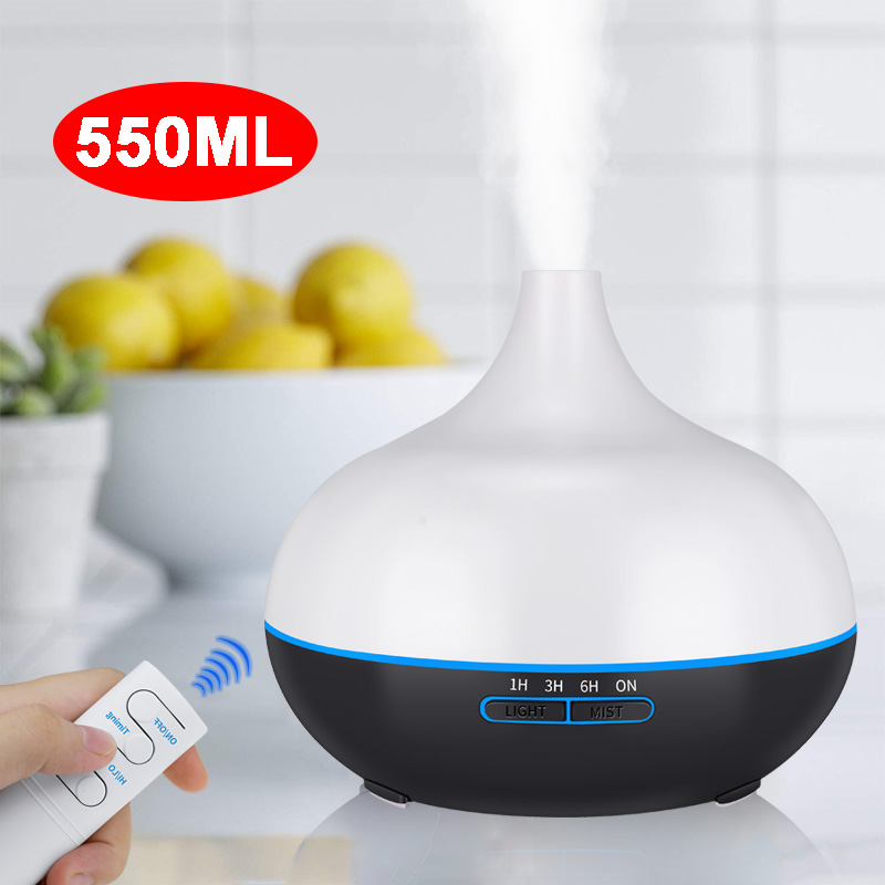 550ML  Ultrasonic Air Humidifier Essential Oil Diffuser Remote Contro Aroma Lamp Aromatherapy Electric Aroma Diffuser Mist Maker