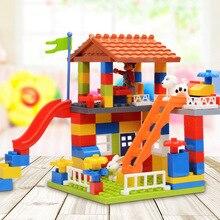 55-89pcs Marble Race Run Maze Ball Jungle Adventure Track Building Block Big Size Bricks Compatible Duplo Childrens Toy