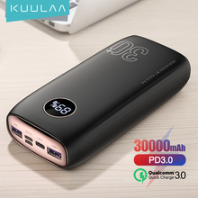 KUULAA Power Bank 30000 mAh USB typ C PD szybkie ładowanie + szybkie ładowanie 3 0 PowerBank 30000 mAh zewnętrzna bateria do Xiaomi iPhone tanie tanio Bateria litowo-polimerowa Cyfrowy wyświetlacz Podwójny USB CN (pochodzenie) Micro Usb USB Typu C Z tworzywa sztucznego