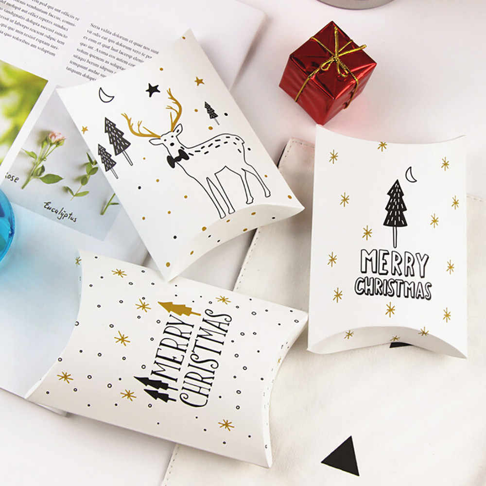 1 pcs Swan Candy Gift Boxes Deer&Xmas Tree Guests Packaging Boxes Gift Bag Party Favors Kids Gift Decor Pillow Box Wedding