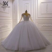 로브 드 발 풀 슬리브 라인 석 크리스탈 반짝이 웨딩 드레스