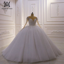 Robe de bal tam kollu taklidi kristal Glitter düğün elbisesi