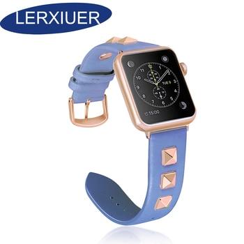 Leather strap for ремешок для apple watch 5 4 3 rivet style correa apple watch 42mm 38mm single bracelet iwatch band accessories
