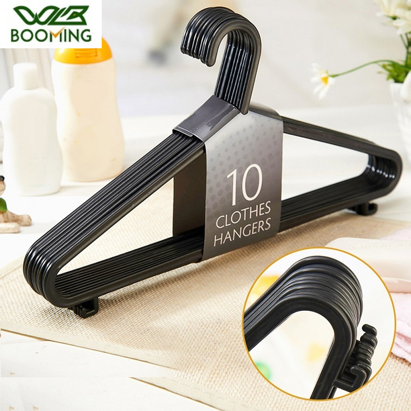 WBBOOMING 10pcs/lot Plastic Adult Coat Drying Rack Strong Clothes Hangers For Tops/Skirts/Dresses/Trousers Non-Slip Hanger Hooks