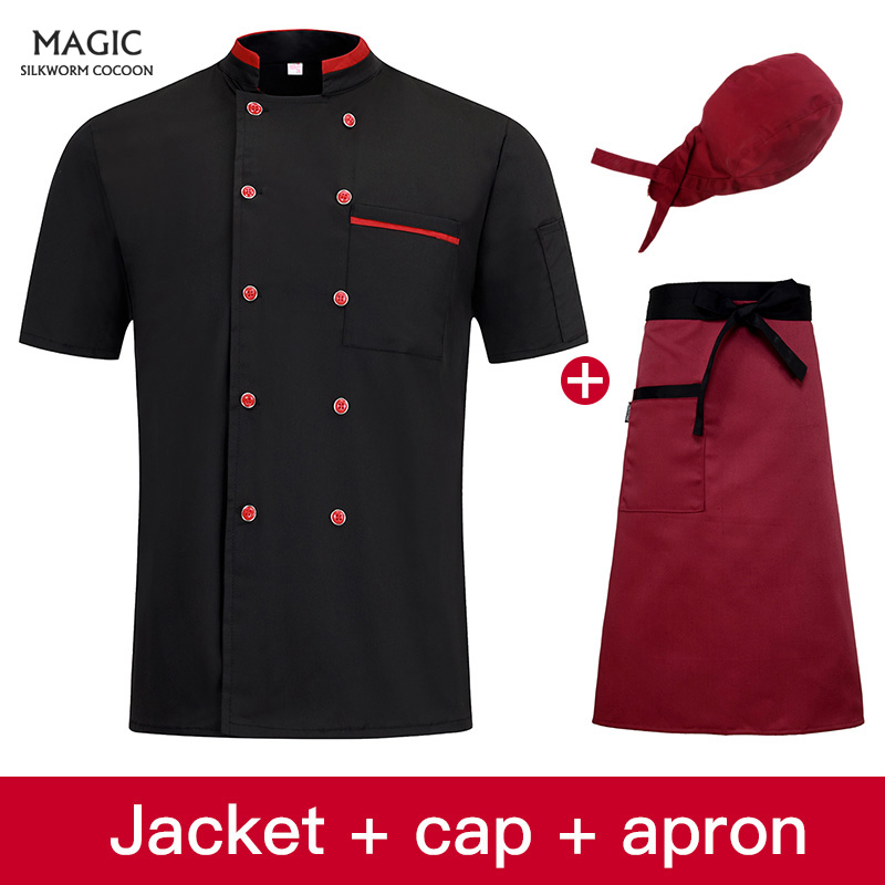Double Breasted Sushi Bakery Cafe Waiter Short Sleeve Restaurant Chef Kitchen Work Uniforms Catering Food Service Jackets Aprons