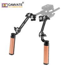 CAMVATE 2Pieces Camera Adjustable Wooden Handle Grip With ARRI Rosette M6 Mounting Thread &15mm Single Rod Clamp & Extension Arm
