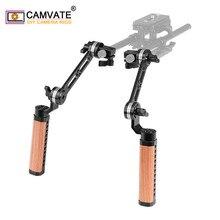 CAMVATE empuñadura de mango de madera ajustable para cámara, 2 piezas, con roseta ANCI M6 rosca de montaje y abrazadera de varilla única de 15mm y brazo de extensión